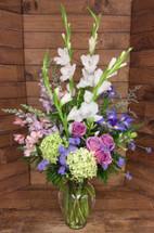 Lavender Rose and Hydrangea Garden Vase