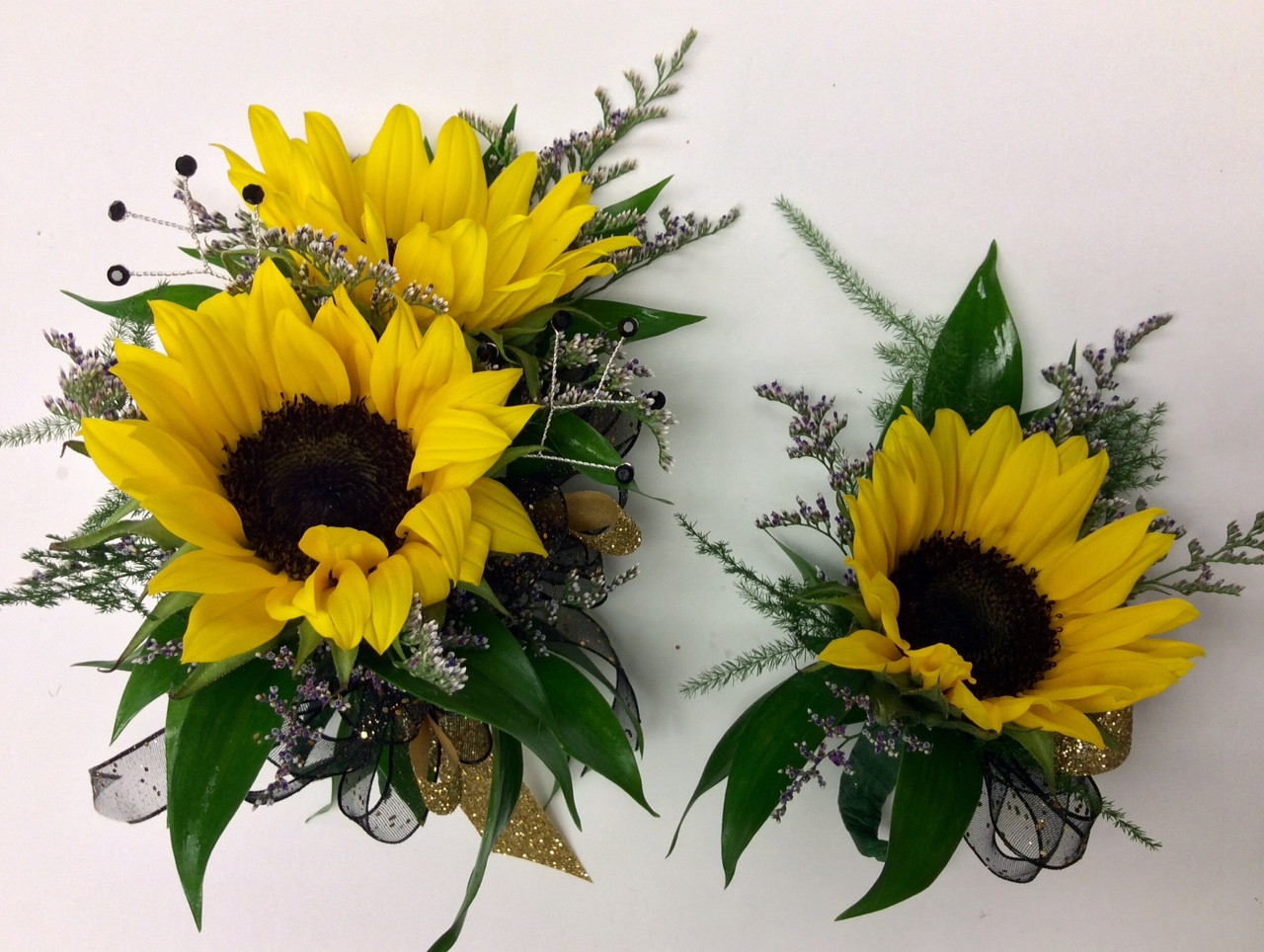 Mini Sunflower Wrist Corsage And Boutonniere Combo Centerville