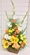 Sunflower and rose fall triangle basket