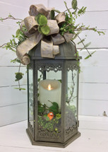"21"" metal lantern with mirage Flameless candle with bird and berries"