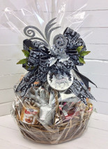 Festive winter gourmet filled basket