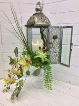Orchid and succulent lantern with mirage Flame-less candle