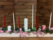 """Rustic 50"""" long holiday centerpiece with candles in silk or fresh"""