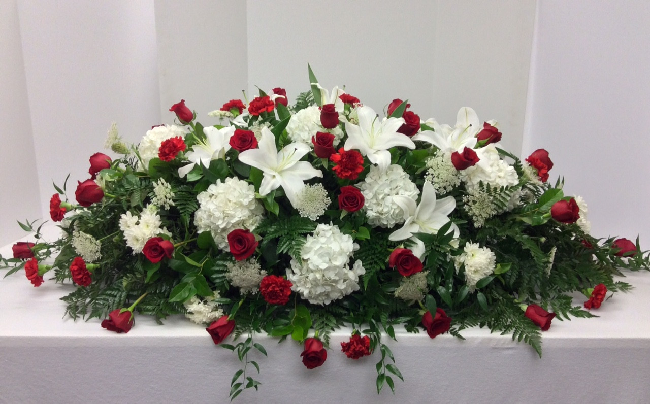 Stunning Red And White Garden Full Couch Casket Spray Centerville