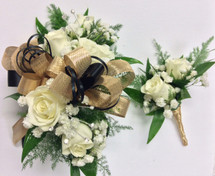 """Gold Mesh and Black Satin"" wrist corsage and Boutonniere combo"