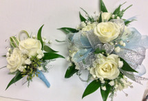 """Rhinestones and Glitter"" Fancy wrist corsage and Boutonniere combo"