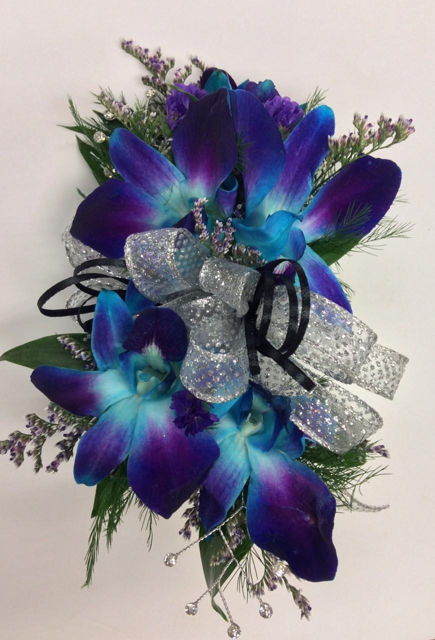 Bomb Blue Dendrobium Orchid Wrist Corsage Wth Rhinestones