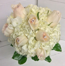 """Hand-Tied Bouquet with Hydrangea and Jeweled """"White Ohara"""" David Austin Roses"""