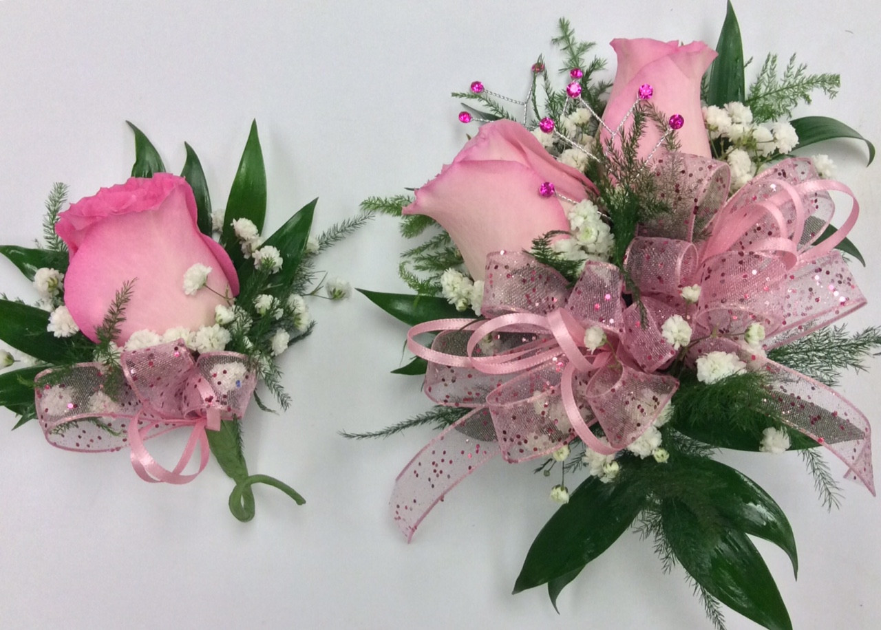 Pretty In Pink Corsage And Boutonniere Combo Centerville Florists