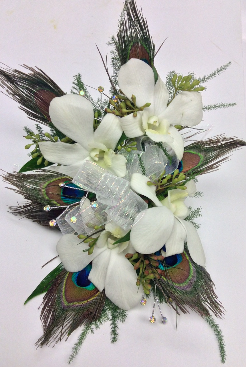 Great Gatsby Orchid And Peacock Feather Wrist Corsage With Gems