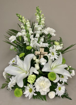 """Pure Grace Arrangement"" with Small Keepsake Cross"