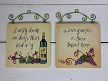 "4"" by 4"" resin wine plaques"