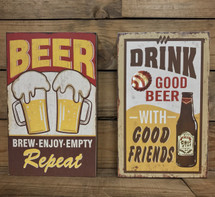 "9 1/2"" by 6"" wooden vintage look beer signs"