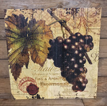 "16"" by 16"" dark grapes wooden wine sign"