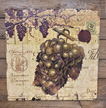 "16"" by 16"" light grapes wooden wine sign"