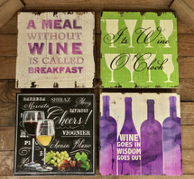 "12"" by 12"" wooden wine signs"