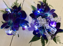Bomb Blue orchid wrist corsage and Boutonnière with LED lights combo