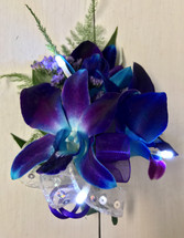 Bomb Blue orchid Boutonnière with LED Lights