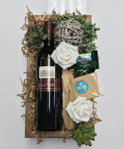J Lohr wine and gift box with gheradelli chocolates, fudge, and Succulents