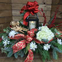 Gorgeous Fresh Lantern Centerpiece with angel and berries