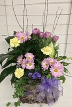 Mixed Planter with potted tulips and fresh cuts