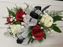 Black satin and silver mesche red and white sweetheart Corsage