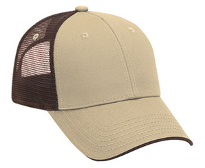 Deluxe low profile tan front brown back Trucker Hat Mesh Hat Snapback Hat