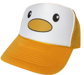 As shown in photo then color of the hat yellow/white front