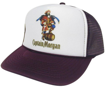 Captain Morgan As shown in photo then color of the hat . ex. Maroon/white front