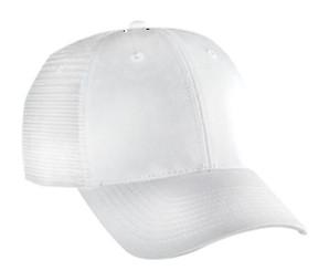 White 6 panel low profile Trucker Hat Mesh Hat Snapback Hat