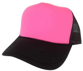 Neon Pink front black back plain blank Trucker Hat Mesh Hat Snapback Hat