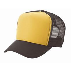 Gold front/ brown back plain blank Trucker Hat Mesh Hat Snapback Hat
