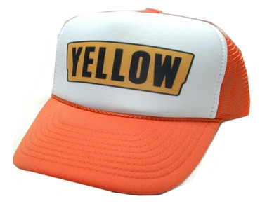 5ef3c5bcf21 ... Yellow Trucking company Trucker Hat Mesh Hat Snap back Hat. As shown in  photo orange white front