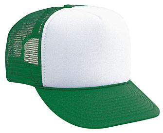 9f6022a7 WHITE FRONT GREEN BACK Trucker hat mesh hat - Blank Plain Trucker Hats