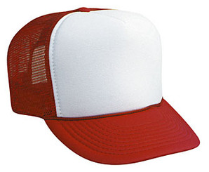 WHITE FRONT RED BACK Trucker Hat Mesh Hat Snapback Hat