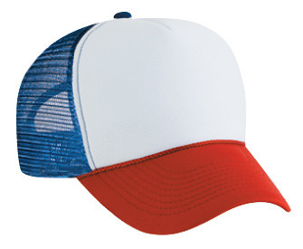 WHITE RED BLUE 3 TONE mesh Trucker hat mesh hat - Blank Plain ... f5a297600d43
