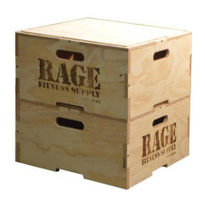 """Conveniently Stack & Store Plyo Boxes   Easily customize the intensity and style of your clients' workouts with a 12"""" Wood Stackable Plyo Box by RAGE. Its revolutionary puzzle design is engineered to stack vertically and securely for beginner and advanced plyometric training from box jumps to agility and stamina drills. Conveniently stack and store the boxes when not in use to conserve space around your facility. Clients can feel confident jumping on this durable Baltic birch box. Included with the wooden RAGE Plyo Box are all the required hardware and pre-drilled holes for quick and easy assembly."""