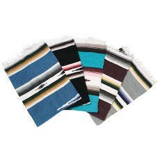 """Mexican Blanket Features Ideal for yoga, floor-based exercises, shoulder stands and more. Tightly hand-loomed for durable wear and firmness. 100% machine washable, non-wool acrylic fabric. Dimensions: 53"""" x 80"""". Colors: varying colorful striped pattern."""
