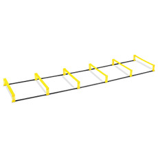 """Elevation Ladder Features Increases flexibility, agility and speed. Quickly switches between flat ladder and 4"""" hurdle position. Folds up easily for storage and portability. Made of durable and lightweight PVC plastic. Dimensions: 7 ft., 6-rungs (each rung is 26"""" wide x 15"""" long). Includes carry bag and usage guide."""