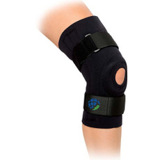 Features:  •Enclosed neoprene tubular donut buttress. •Two medial and two lateral spiral steel stays. •Tapered in back for comfortable fit. •Provides warmth and equal compression. •Mild to moderate ligament joint pain, strains , sprains of the knee ligaments or patellar instabilities.