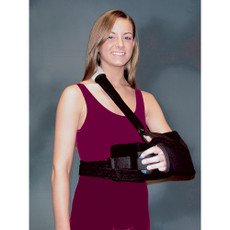 Universal Super Sling Plus Features  •Adjustable universal sling can be folded for proper fit •For support and abduction after rotator cuff repair •Removable positioning pillow allows for abduction •Easy-open sling allows for forearm exercises •Exercise ball encourages exercise and stimulates circulation •Adjustability allows arm to be placed in a variety of positions dependent on postoperative requirements •Optional wedge adds abduction and increases rotation •May be used in conjunction with the Super Sling Plus •Wedge is universal size and latex-free