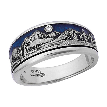 Pikes Peak Mountain band.  14k white gold with blue enameled sky and full cut diamond moon.