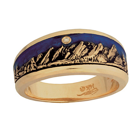 Flatirons Boulder, Colorado Mountain shown in 14kt yellow gold.  The sky is blue epoxy  enamel with a full cut diamond moon