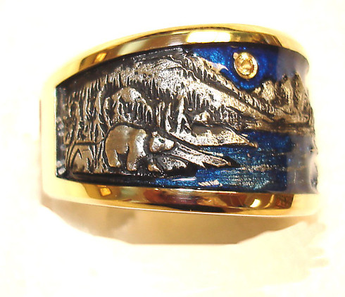 Mountain band with Bear.  14kt yellow gold with epoxy enamel and full cut diamond moon
