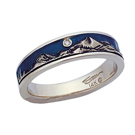 Narrow mountain band shown in 14k white gold with blue epoxy enamel sky and full cut diamond.  This ring is only available in up to size 8