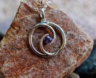 #7997 Purple Sapphire w/ Diamond Swirl Pendant