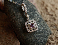 #8000 Purple Sapphire w/ Diamonds Pave Set Pendant