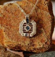 #6798 Blue Sapphire w/ Diamonds Deco Styled Pendant