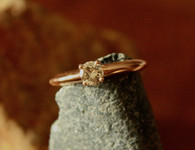 #7944 Champagne Solitaire Diamond Engagement Ring in Rose Gold w/ Peek a Boo Diamonds