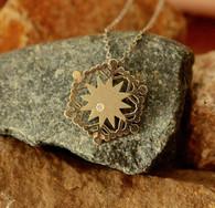 #6960 Handmade Snowflake White Gold w/ Diamond Pendant by Steven Powell McHone
